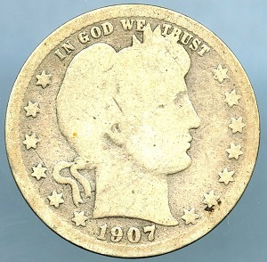 1907 Barber Quarter About Good