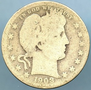 1908 D Barber Quarter AG