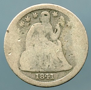 1841 Seated Dime About Good