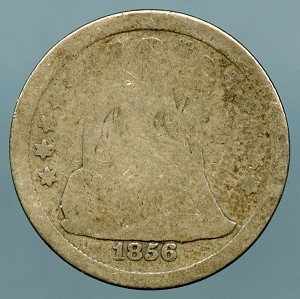 1856   Seated Dime About Good