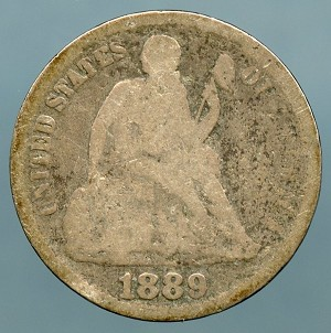 1889   Seated Dime About Good