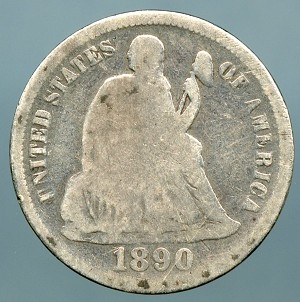 1890  Seated Dime About Good