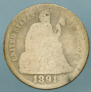 1891  Seated Dime About Good
