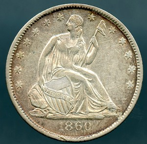 1860 O Liberty Seated Half Dollar Choice AU-55