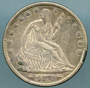 1874  Seated Half Dollar XF-40