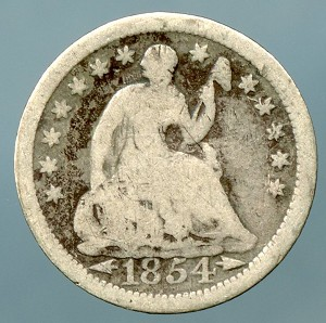 1854 Seated Half Dime Good