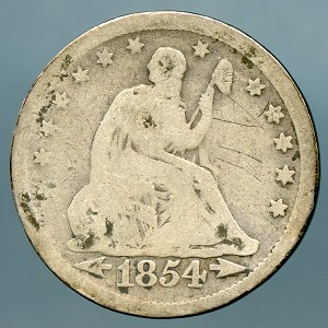 1854 Seated Quarter CULL
