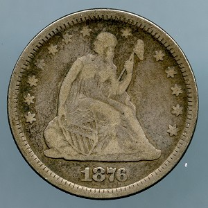 1876 Seated Quarter Almost Fine