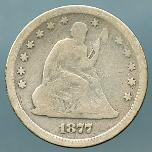 1877 S Seated Quarter VG lightly cleaned