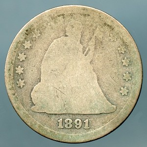 1891 Seated Quarter About Good