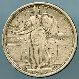 1917 Ty 1 Standing Quarter XF-45 light spotting on the obverse