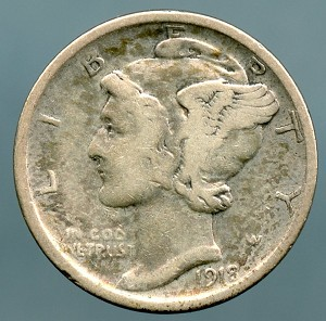 1921 Mercury Dime Good cuts on obverse