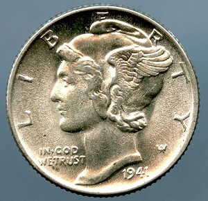 1941 Mercury Dime MS 60
