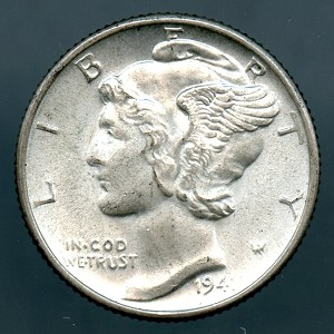 1941 D Mercury Dime Choice MS-63
