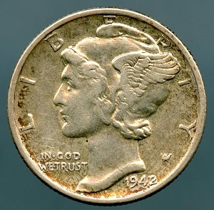1942/1 Mercury Dime XF-40 Cleaned