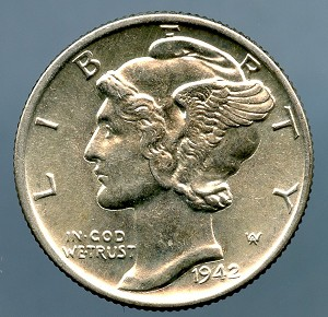 1942 Mercury Dime MS 60