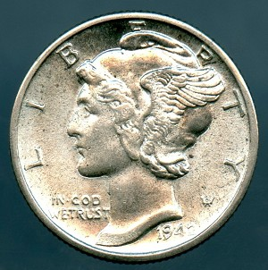 1942 D Mercury Dime B.U. MS-60