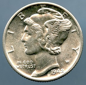 1942 D Mercury Dime MS 63