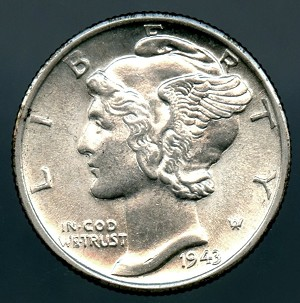 1943 D Mercury Dime Choice B.U. MS-63