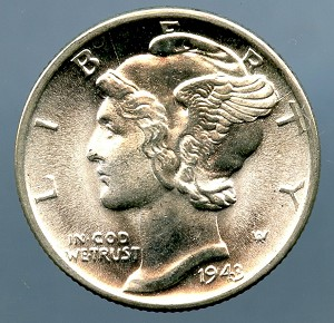 1943 D Mercury Dime MS 63 plus