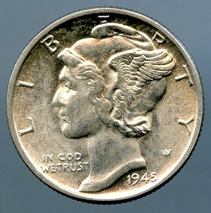 1945 Mercury Dime B.U. MS-60