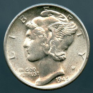 1945-D Mercury Dime MS-63