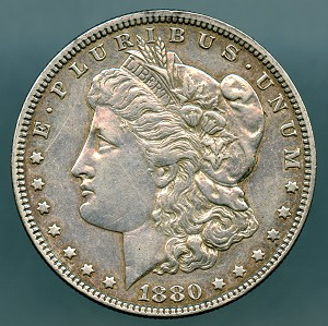 1880 Morgan Dollar XF 45 details cleaned