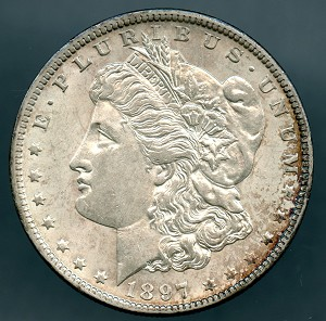 1897 O Morgan Dollar B.U. MS-60