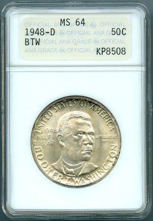 1948 D Booker T. Washington Half Dollar ANACS MS-64