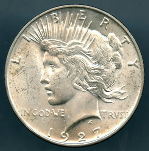 1927 D Peace Dollar Choice B.U. MS-63