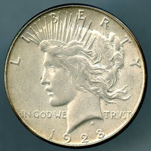 1928 S Peace Dollar XF 45