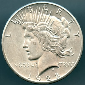 1928 Peace Dollar AU details cleaned