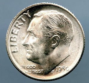 1950 S Roosevelt Dime MS 63 plus