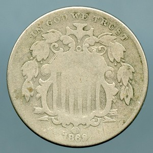 1869 Shield Nickel Good