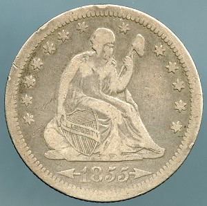 1855 Seated Quarter Fine Plus