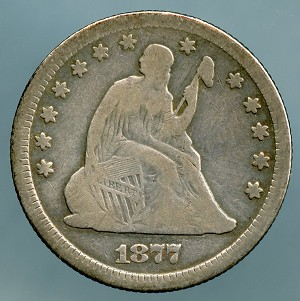 1877 Seated Quarter Very Good