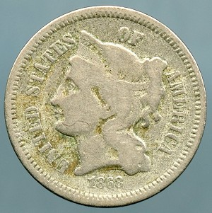 1868 Three Cent Nickel Good