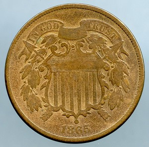 1865 Two Cent Piece VG plus