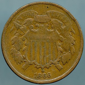 1866 Two Cent Piece Very Good