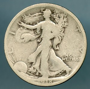 1918 S Walking Half Dollar Good