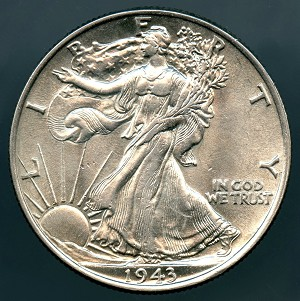 1943 Walking Half Dollar MS-60