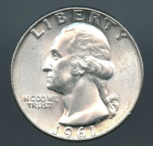 1961 Washington Quarter Choice B.U. MS-63