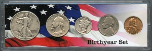 1942 Birthyear Year Set - 5 Coin Set