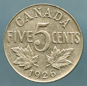 Canada 1926 near 6  Nickel  VF KM-29