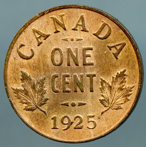 Canada 1925  Cent XF details cleaned  KM # 28