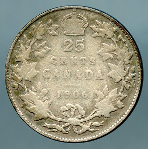 1906 Canada Quarter VG Large Crown KM # 11