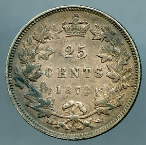 Canada 1872 H  Quarter Large 2 KM 5  XF