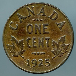 Canada 1925  Cent VG details cleaned KM 28