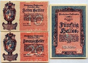 1920 Liechtenstein 10, 20 and 50 Heller P1, P2 & P3